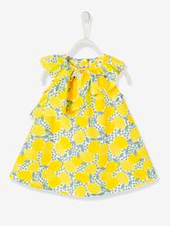 Baby-Dresses & Skirts-Dress with Asymmetric Ruffle & Lemon Print for Baby Girls