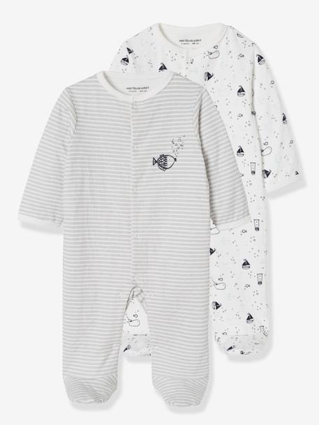 Pack of 2 Baby Sleepsuits in Double-Sided Cotton, Fish Motif GREY DARK TWO COLOR/MULTICOL