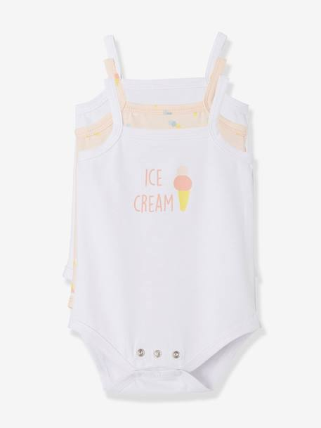 Pack of 3 Bodysuits with Thin Straps for Babies PINK LIGHT 2 COLOR/MULTICOL R