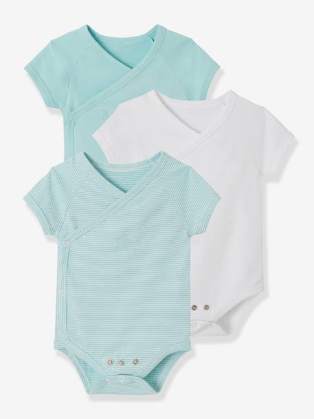 Pack of 3 Progressive Bodysuits for Newborns in Stretch Cotton, Short Sleeves BLUE LIGHT TWO COLOR/MULTICOL+PINK LIGHT 2 COLOR/MULTICOL R