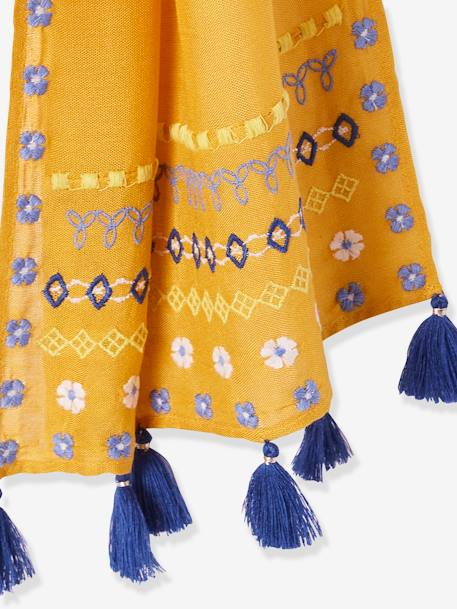Long Scarf with Tassels for Girls BLUE DARK SOLID WITH DESIGN+ORANGE MEDIUM SOLID WITH DESIG+PINK LIGHT SOLID WITH DESIGN