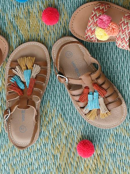 Leather Sandals for Girls BROWN MEDIUM SOLID+GREY LIGHT METALLIZED+PINK LIGHT SOLID