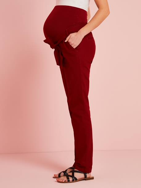 Paperbag Maternity Trousers RED DARK SOLID