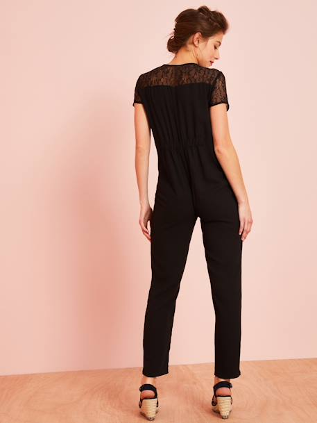 Long Maternity Jumpsuit BLACK DARK SOLID WITH DESIGN