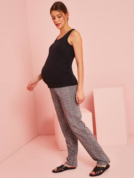 Maternity Trousers, African Print BLACK DARK ALL OVER PRINTED
