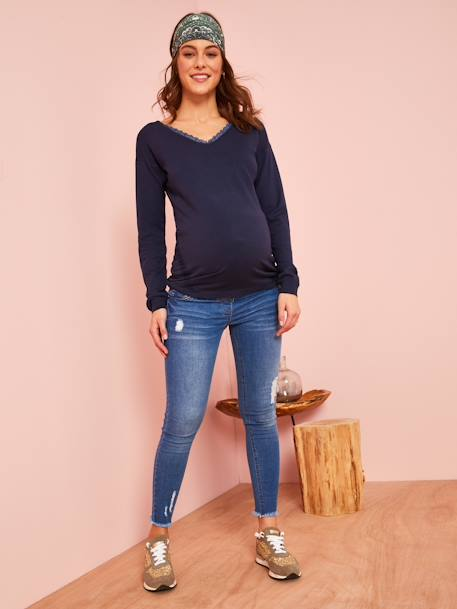 Maternity Jumper with Lace BLUE DARK SOLID WITH DESIGN