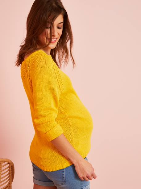 Maternity Pullover in Openwork Knit RED BRIGHT SOLID+YELLOW BRIGHT SOLID