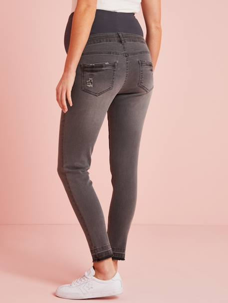 Maternity Washed Skinny Jeans, Ankle Length BLUE DARK WASCHED+GREY DARK WASCHED