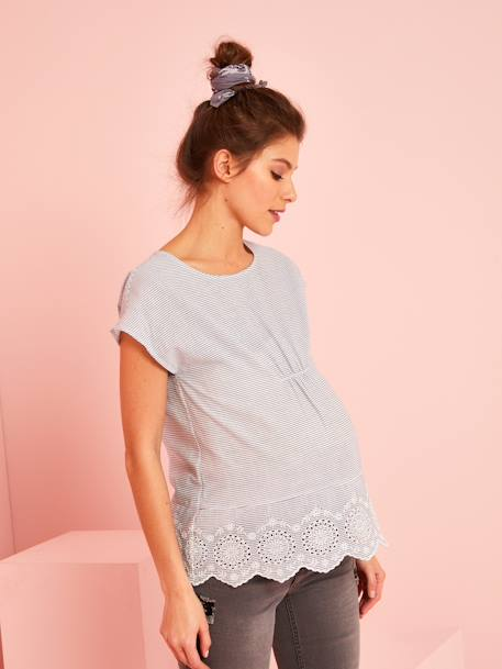 Striped Maternity Blouse in Broderie Anglaise BLUE LIGHT STRIPED