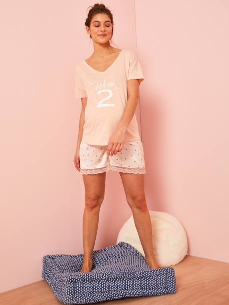 Maternity T-Shirt in Marl Jersey Knit Fabric PINK LIGHT SOLID WITH DESIGN+WHITE LIGHT SOLID WITH DESIGN