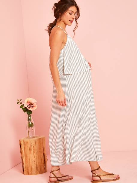 Striped Maternity Dress with Stylish Flaps WHITE MEDIUM STRIPED