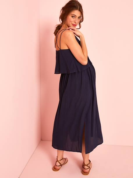 Long Maternity Dress with Stylish Flaps BLUE DARK SOLID