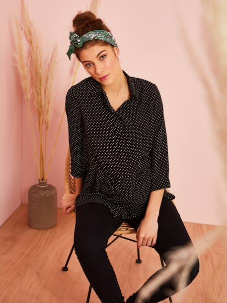Dotted Maternity Blouse BLACK DARK ALL OVER PRINTED