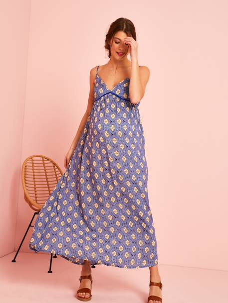 Long, Printed Maternity Dress BLUE DARK ALL OVER PRINTED