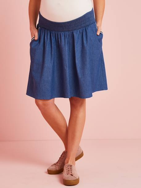 Maternity Skirt in Light Denim BLUE DARK SOLID