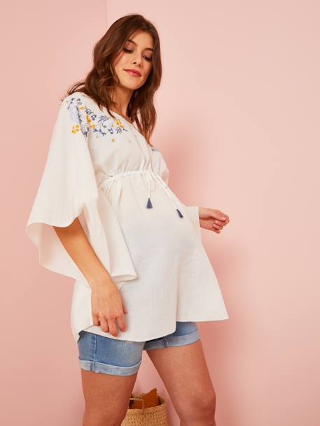 Embroidered Beach Tunic for Maternity WHITE LIGHT SOLID WITH DESIGN