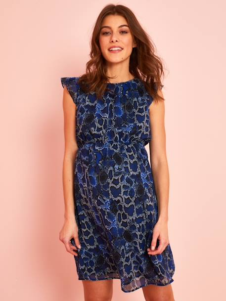 Maternity Dress, Reptile-Like Print BLUE DARK ALL OVER PRINTED