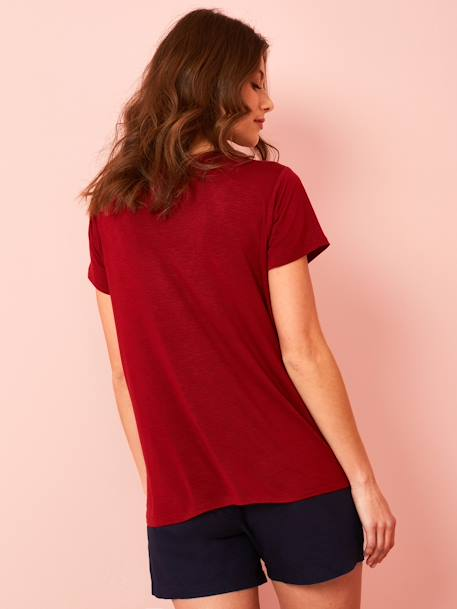 Ethnic Short-Sleeved T-shirt for Maternity BLACK DARK SOLID+RED DARK SOLID+WHITE LIGHT SOLID