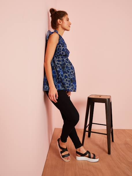 Maternity Blouse, Reptile-Like Print BLUE DARK ALL OVER PRINTED