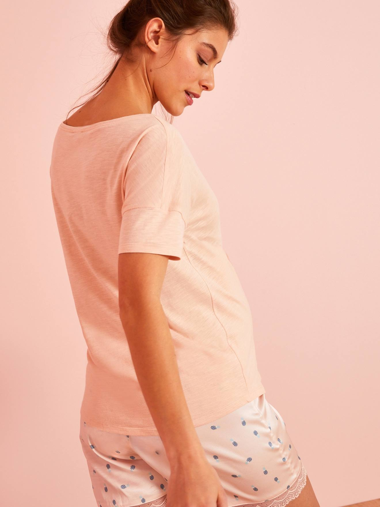 51693cd7aacd3 Maternity T-Shirt in Marl Jersey Knit Fabric - pink light solid with design,  Maternity | Vertbaudet