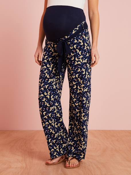 Maternity Trousers in Printed Viscose BLUE DARK ALL OVER PRINTED