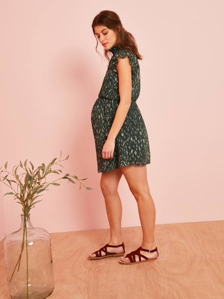 711b65d8d395a Maternity Dress in Printed Voile - green dark all over printed, Maternity  ...