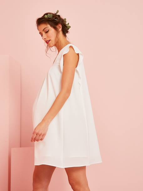 Maternity Dress with Ruffled Sleeves WHITE LIGHT SOLID