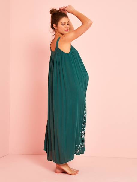 Long Maternity Dress, Embroidered Crepon GREEN MEDIUM SOLID