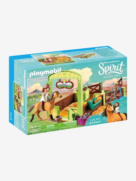 9478 Lucky and Spirit with Horse Stall, Playmobil BROWN MEDIUM SOLID