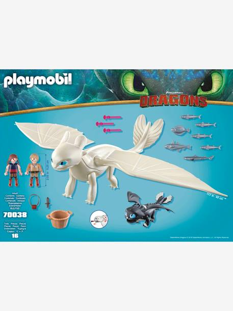 70038 Light Fury with Baby Dragon & Children, Playmobil GREY MEDIUM SOLID