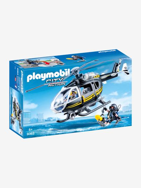 9363 SWAT Helicopter, by Playmobil BLACK MEDIUM SOLID WITH DESIGN
