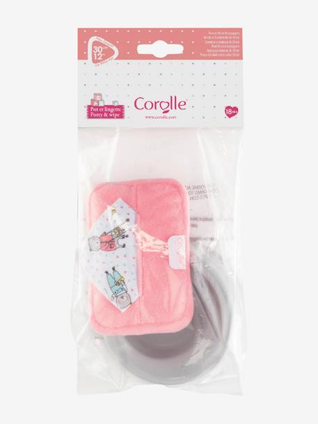 Potty & Baby Wipes for 30 cm doll, by Corolle PINK MEDIUM SOLID