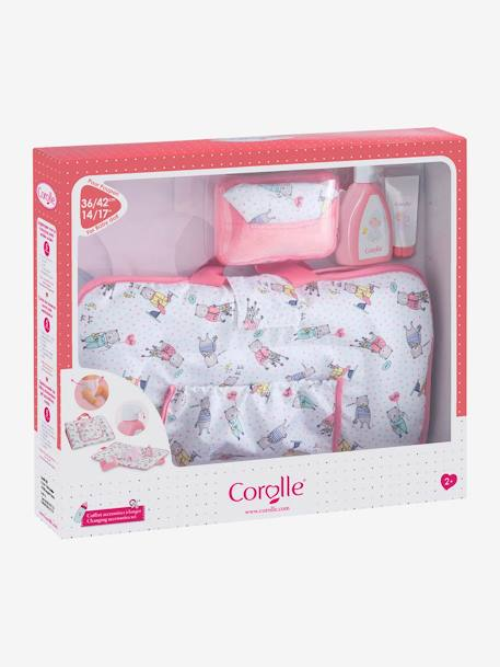 Changing Accessories Set for 36/42 cm Baby Doll, by Corolle PINK LIGHT ALL OVER PRINTED