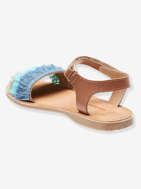 Leather Sandals with Tricoloured Fringes for Girls BLUE MEDIUM TWO COLOR/MULTICOL
