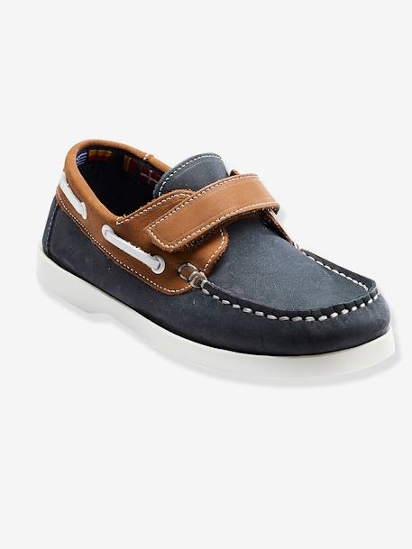 Leather Loafer Shoes for Boys BLUE MEDIUM TWO COLOR/MULTICOL