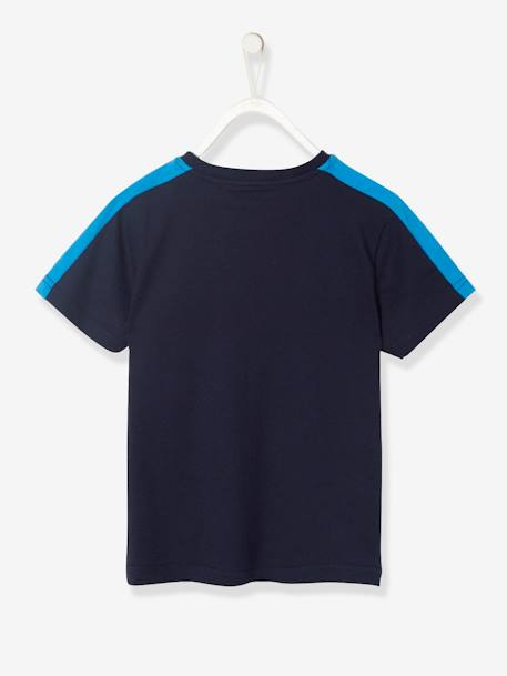 Sports T-Shirt for Boys with Reflective Strips BLUE DARK SOLID WITH DESIGN+BLUE MEDIUM SOLID WITH DESIGN