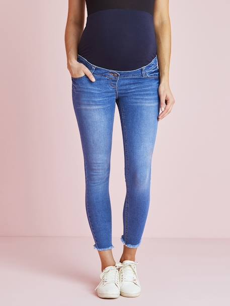 7/8 Maternity Slim Fit Jeans with Tears BLUE BRIGHT SOLID