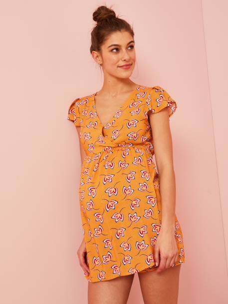 Maternity Playsuit, African Print ORANGE BRIGHT ALL OVER PRINTED