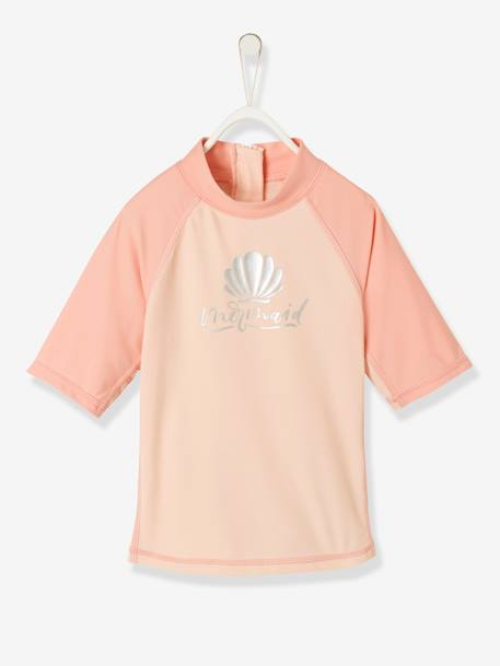 UV Protection Swim T-Shirt, Shell Motif, for Girls PINK LIGHT SOLID WITH DESIGN
