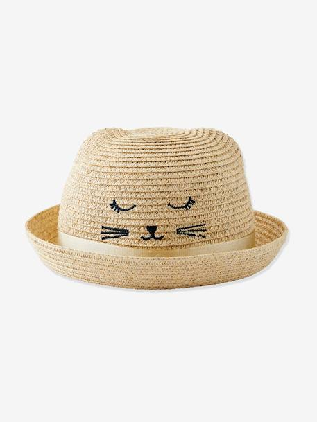 Embroidered Iridescent Hat, Decorative Cat & Ears, for Girls BEIGE LIGHT SOLID WITH DESIGN