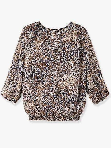 Leopard Maternity Blouse BROWN DARK ALL OVER PRINTED