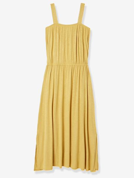 Long Maternity Dress with Macramé Neckline YELLOW MEDIUM SOLID
