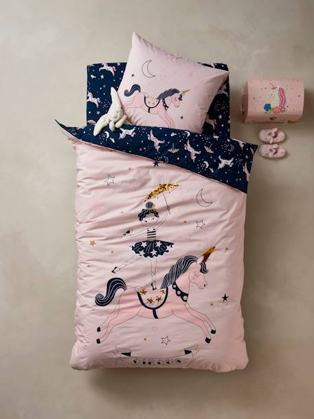 Duvet Cover + Pillowcase Set, MAGIC CIRCUS Theme PINK LIGHT SOLID WITH DESIGN
