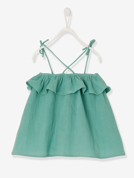 Dress with Straps & Stylish Ruffle, for Baby Girls GREEN MEDIUM SOLID