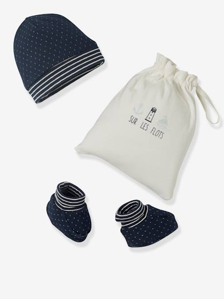 Beanie & Booties Set with Bag for Newborn Babies BLUE DARK STRIPED+PINK LIGHT STRIPED