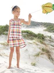 Girls-Dresses-Checked Dress, Straps with Tassels, for Girls