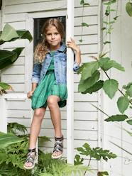 Girls-Dresses-Striped Dress with Ruffled Sleeves, for Girls