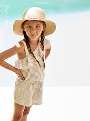 Girls-Dungarees & Playsuits-Striped Jumpsuit with Asymmetric Ruffle, for Girls