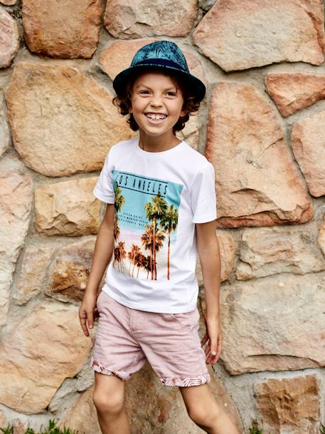 Borsalino-Type Hat with Exotic Print, for Boys BLUE DARK ALL OVER PRINTED