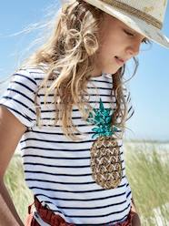 Girls-Tops-Striped T-Shirt with Sequinned Pineapple, for Girls